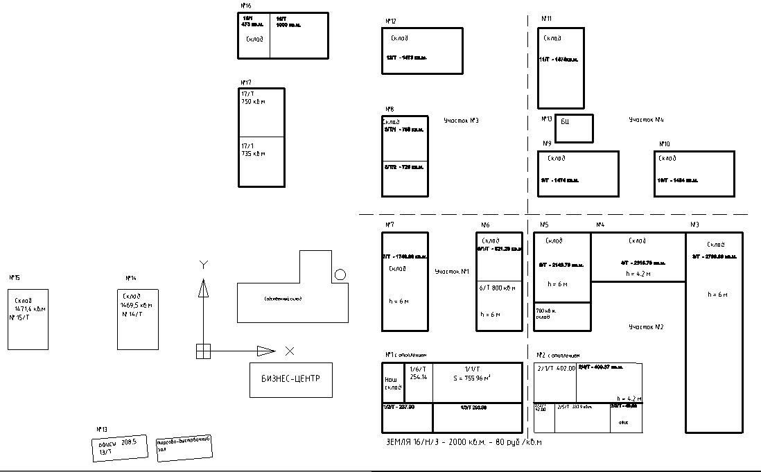 Схема расположения складских